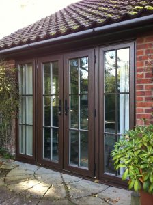 Natural wood French doors