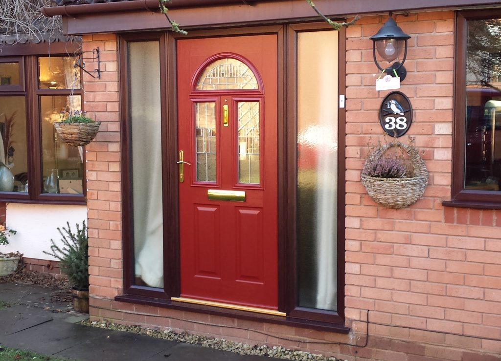 Red Composite Door and Rosewood Frame cropped
