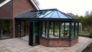 Anthracite Conservatory with Bi-folds and French Doors (1)