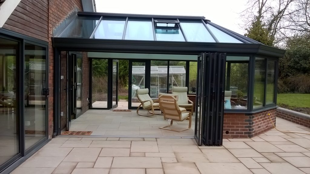 Anthracite Conservatory with Bi-folds and French Doors (2)
