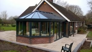 Anthracite Conservatory with Bi-folds and French Doors (3)